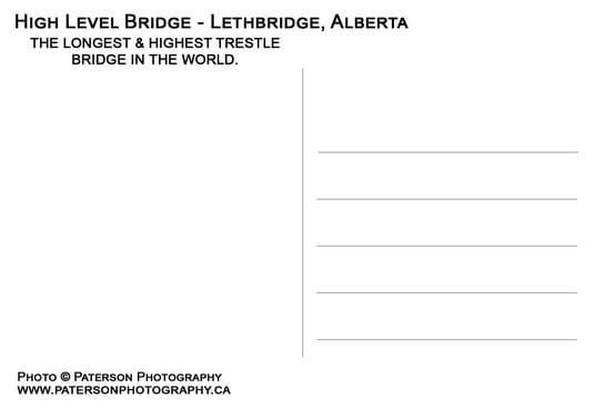 High level Bridge Lethbridge Postcards Back
